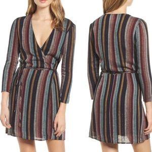 Rails Lola Metallic Vertical Striped Wrap Dress